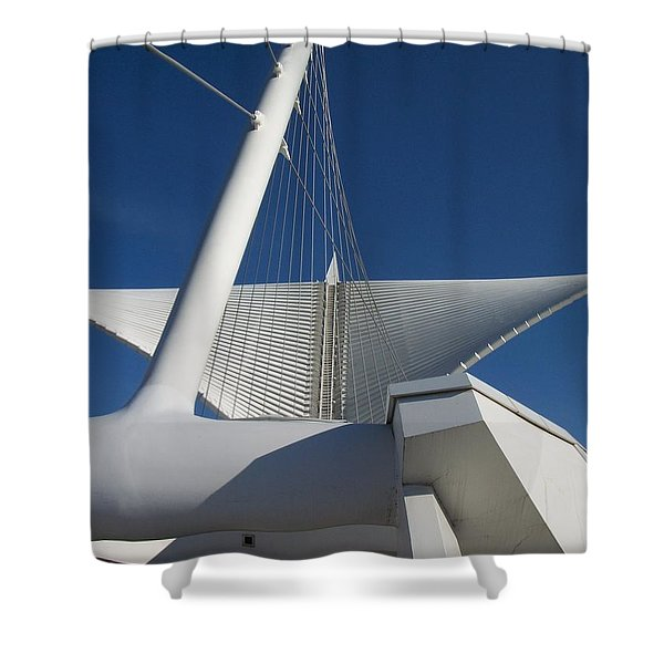 Shower Curtain featuring the photograph Milwaukee Art Museum Cropped by Anita Burgermeister