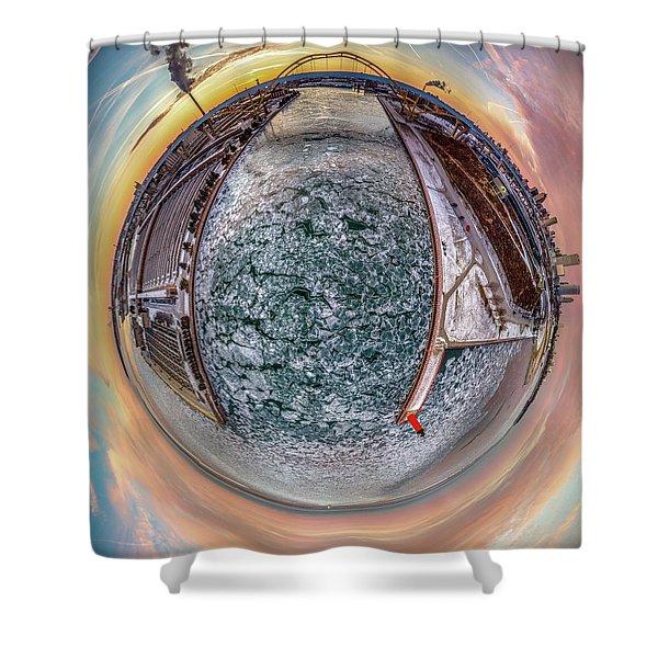 Milwaukee River Little Planet Shower Curtain