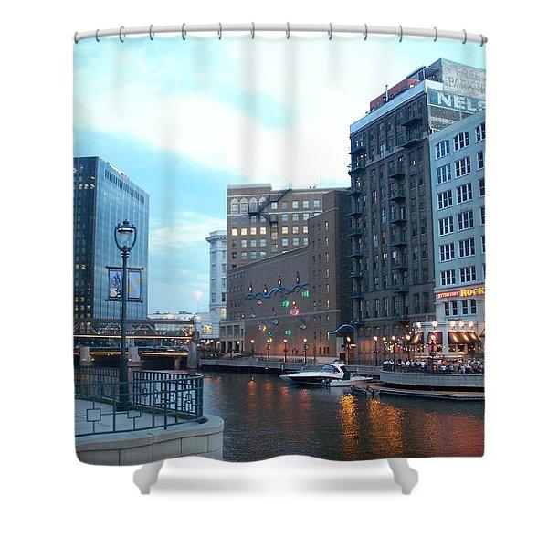 Milwaukee River Walk Shower Curtain