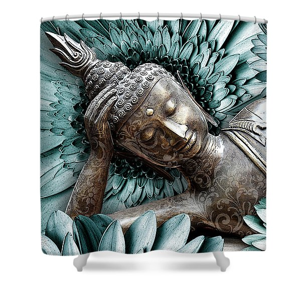 Shower Curtain featuring the mixed media Mind Bloom by Christopher Beikmann