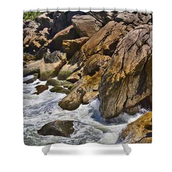 Brazilian Sea Cliffs - Guaruja - Sao Paulo Shower Curtain
