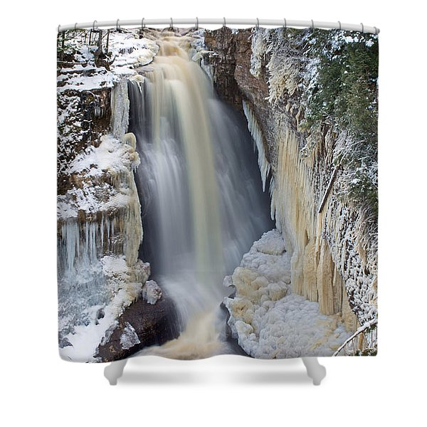 Miners Falls In The Snow Shower Curtain