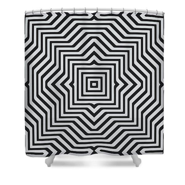 Minimal Geometrical Optical Illusion Style Pattern In Black White T-shirt  Shower Curtain