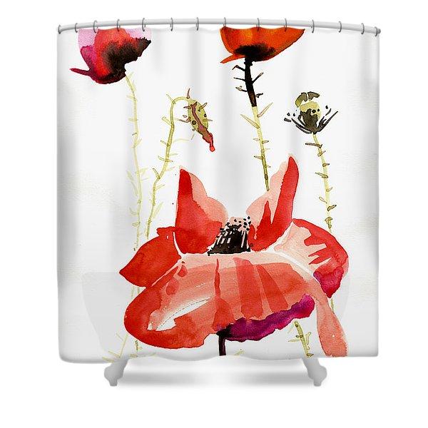 Minimalist Poppy Field Watercolor Shower Curtain
