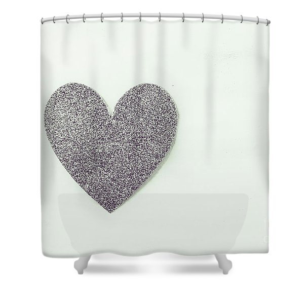 Minimalistic Silver Glitter Heart Shower Curtain