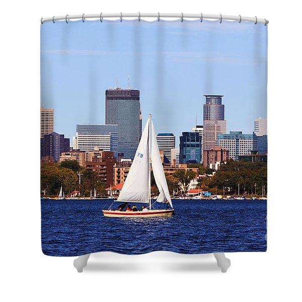 Minneapolis Skyline Lake Calhoun Sailing Shower Curtain