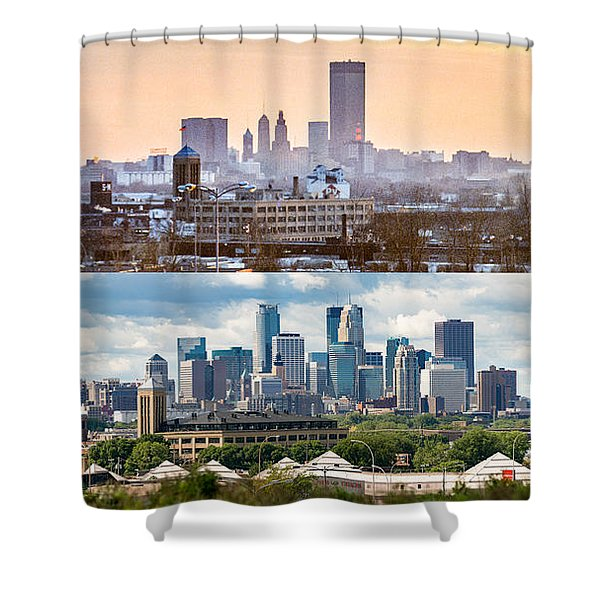 Minneapolis Skylines - Old And New Shower Curtain