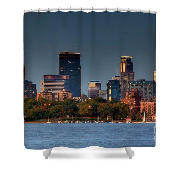 Minneapolis Skyline Photography Lake Calhoun Summer Evening Shower Curtain