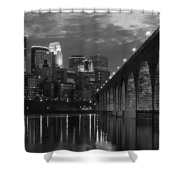 Minneapolis Stone Arch Bridge Bw Shower Curtain