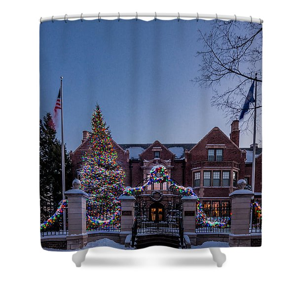 Shower Curtain featuring the photograph Christmas Lights Series #6 - Minnesota Governor's Mansion by Patti Deters