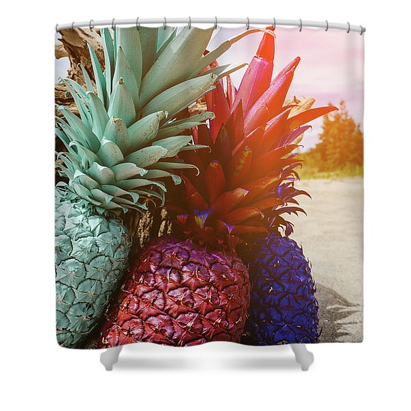 Mint, Red, Blue Shower Curtain