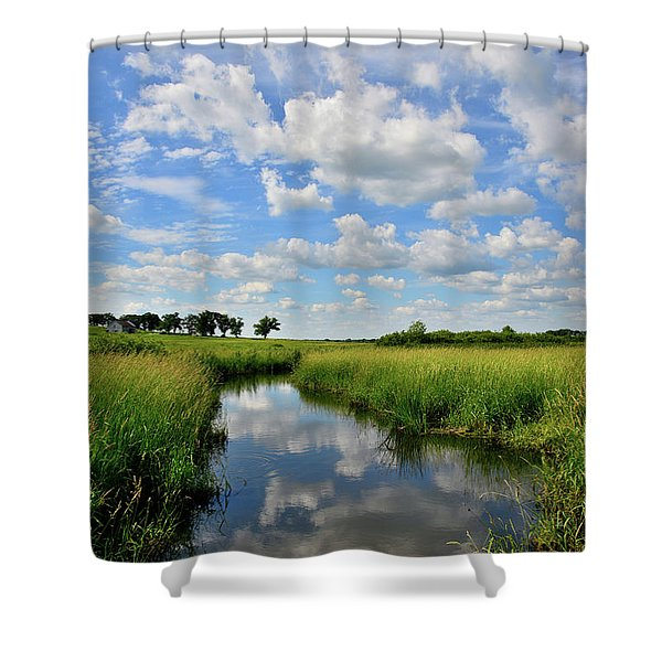 Mirror Image Of Clouds In Glacial Park Wetland Shower Curtain