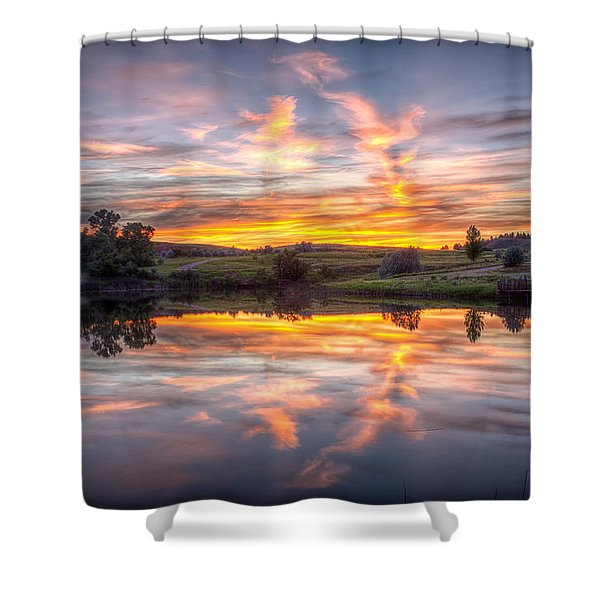 Mirror Lake Sunset Shower Curtain