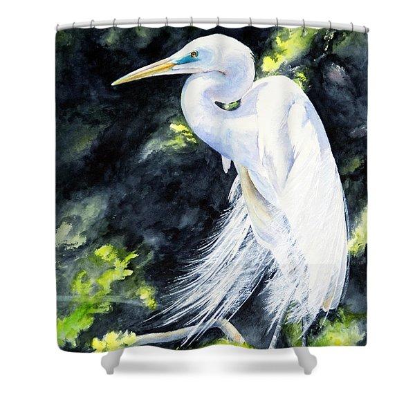 Miss April - Great Egret Shower Curtain