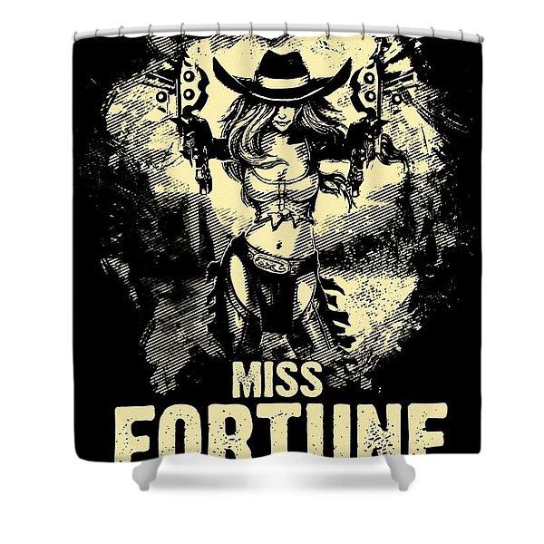 Miss Fortune - Vintage Comic Line Art Style Shower Curtain