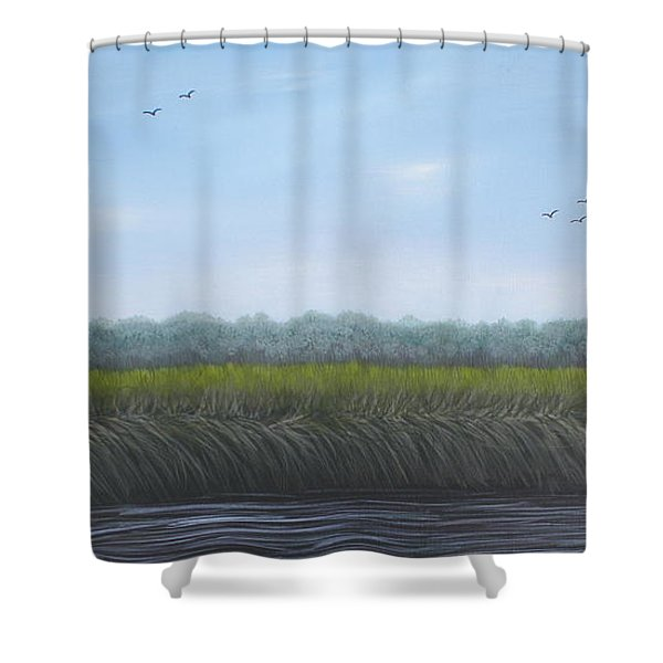 Shower Curtain featuring the painting Missiquoi Refuge by Tracey Goodwin
