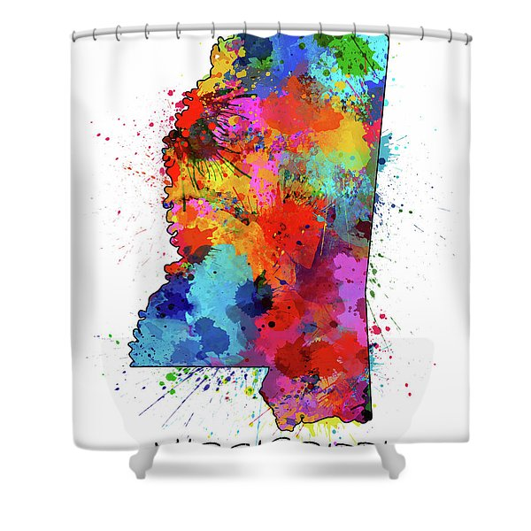Mississippi Map Color Splatter Shower Curtain