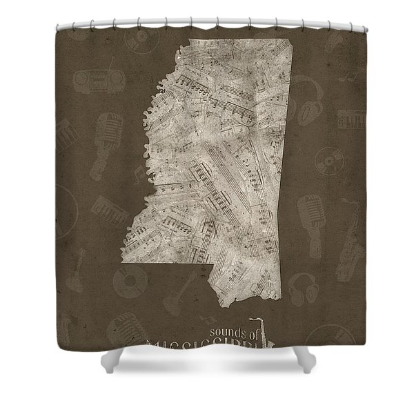 Mississippi Map Music Notes 3 Shower Curtain