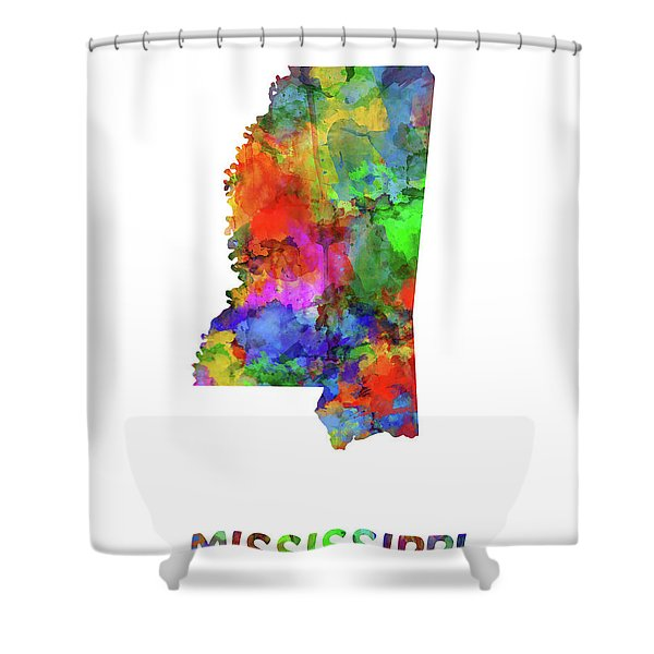 Mississippi Map Watercolor Shower Curtain