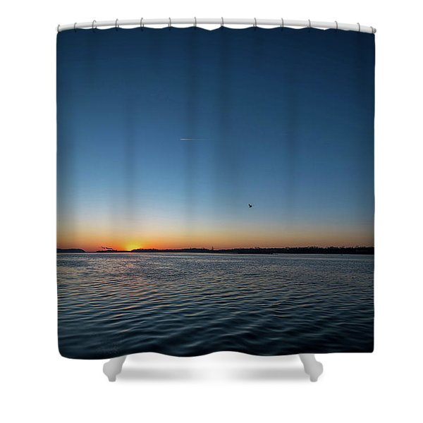 Mississippi River Sunrise Shower Curtain