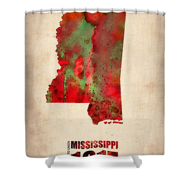 Mississippi Watercolor Map Shower Curtain