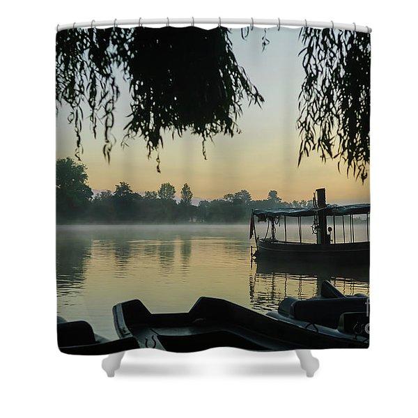 Mist Lake Silhouette Shower Curtain