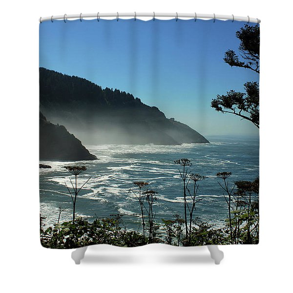 Misty Coast At Heceta Head Shower Curtain