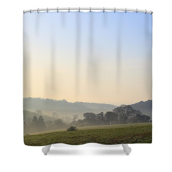Misty Dawn Over The Cornish Countryside Shower Curtain