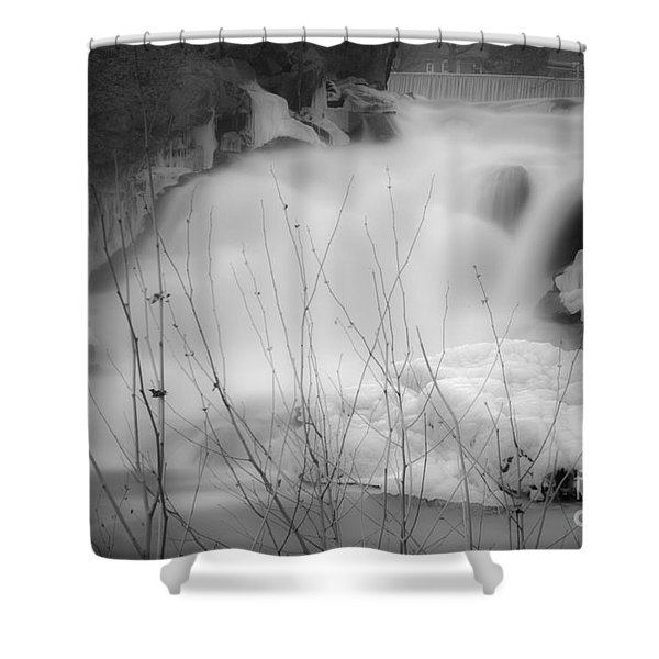 Misty Icy Waterfall Shower Curtain