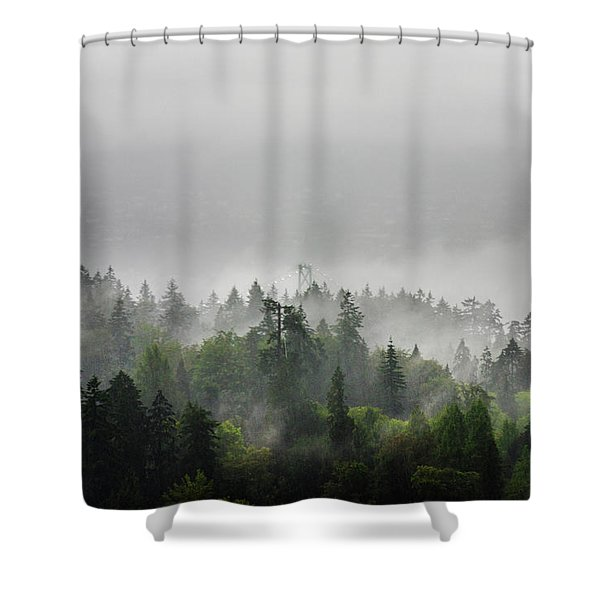 Misty Lions Gate View Shower Curtain
