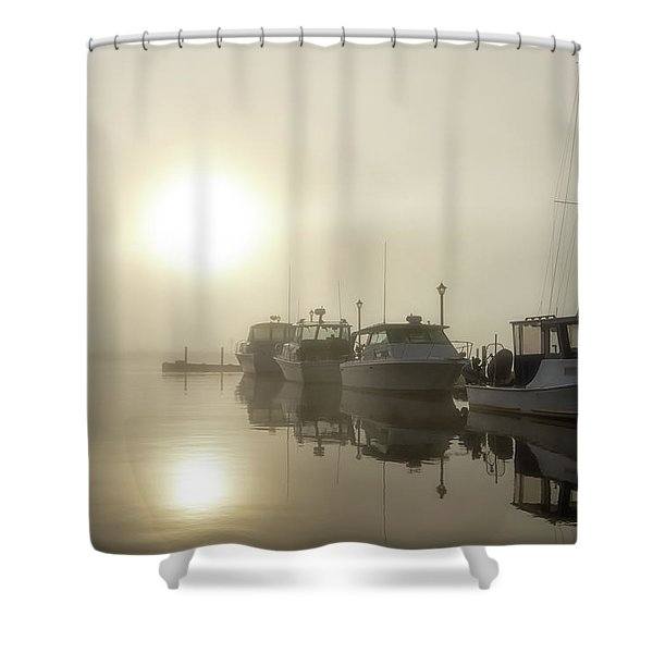 Shower Curtain featuring the photograph Misty Marina by Heather Kenward