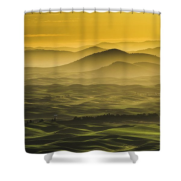 Misty Morning At Palouse. Shower Curtain