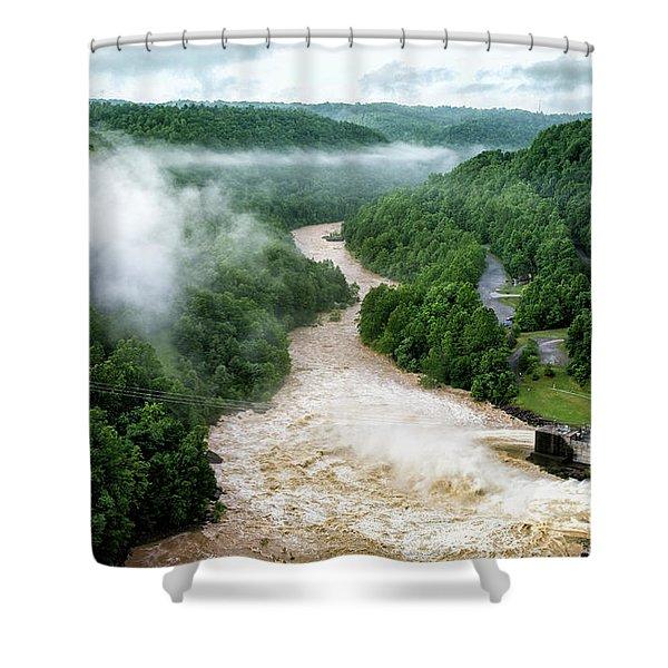 Misty Morning At Summersville Lake Dam Shower Curtain