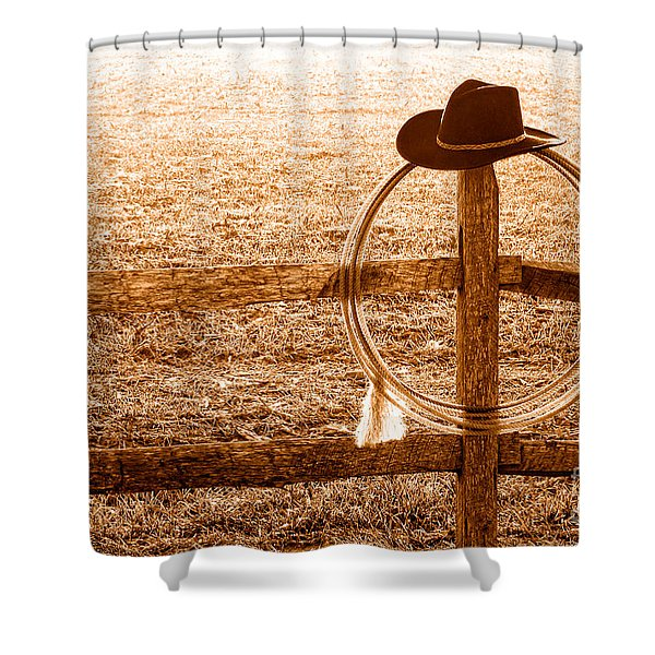 Misty Morning At The Ranch - Sepia Shower Curtain