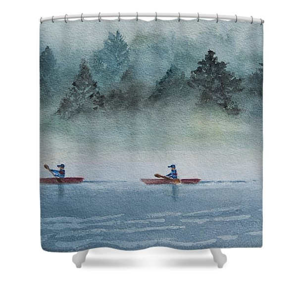 Shower Curtain featuring the painting Misty Morning by Karen Fleschler