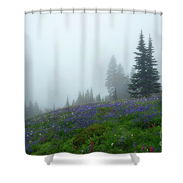 Misty Morning Meadow Shower Curtain