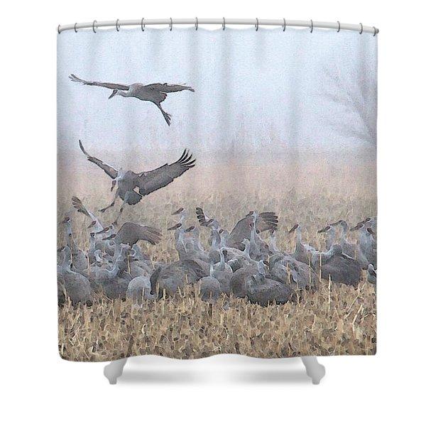 Misty Morning Nebraska Landing Shower Curtain