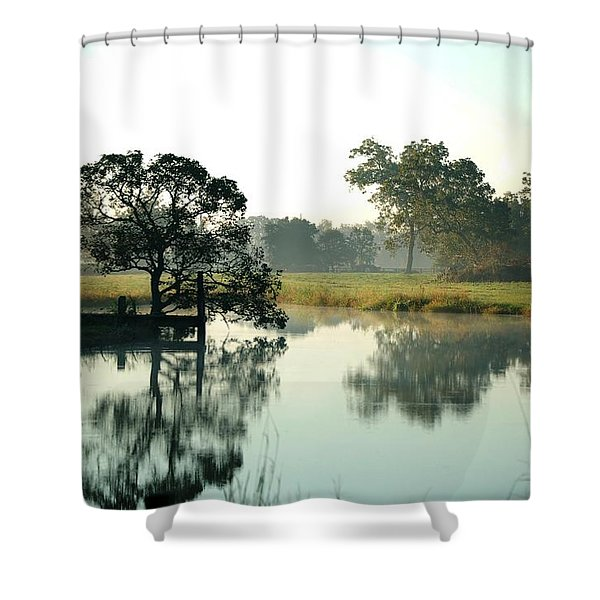 Misty Morning Pond Shower Curtain