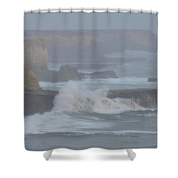 Misty Pacific Cliffs Shower Curtain