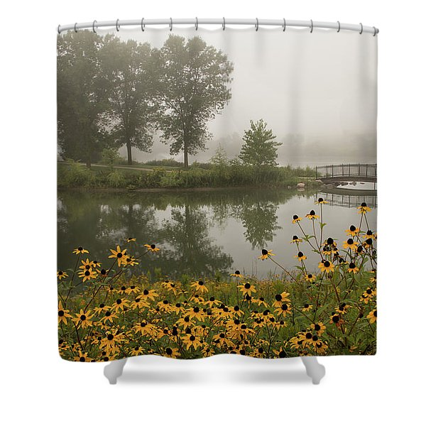 Misty Pond Bridge Reflection #3 Shower Curtain