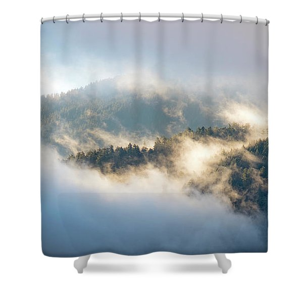 Shower Curtain featuring the photograph Misty Ridge 2 by Michael Hope