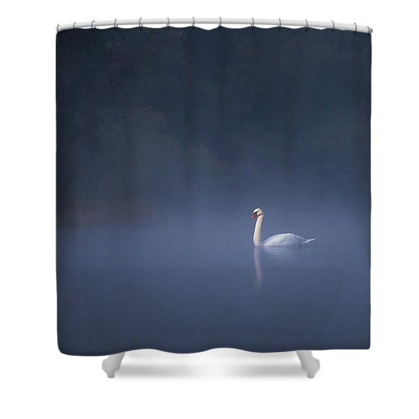 Misty River Swan Shower Curtain