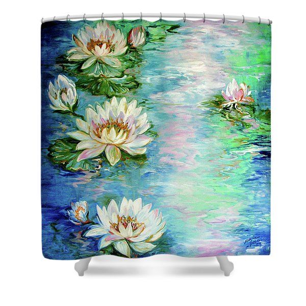 Misty Waters Waterlily Pond Shower Curtain