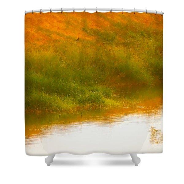 Misty Yellow Hue -lone Jacana Shower Curtain