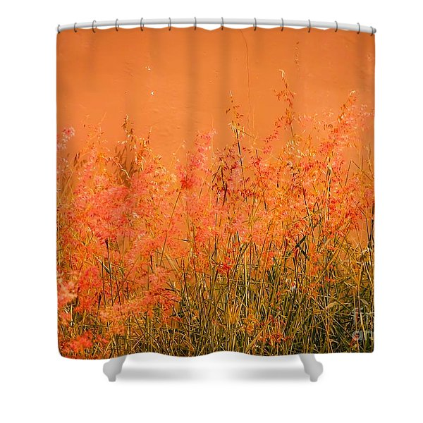 Misty Yellow Hue- Pink Blooms Shower Curtain