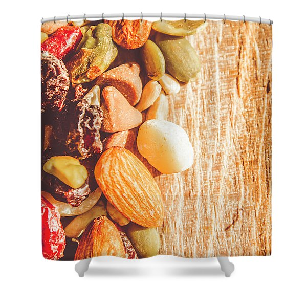 Mixed Nuts On Wooden Background Shower Curtain