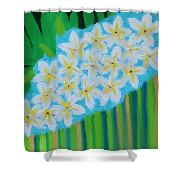 Mixed Up Plumaria Shower Curtain