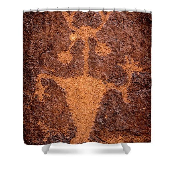 Moab Man Petroglyph Portrait - Utah Shower Curtain