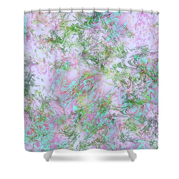 Mock Floral Purple Teal Shower Curtain
