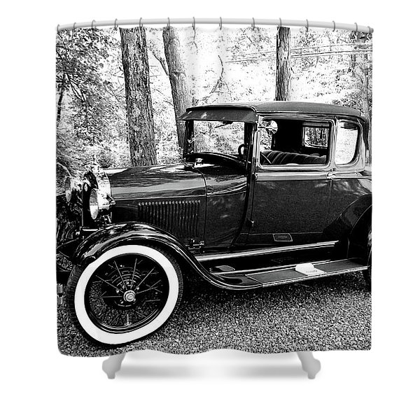 Model A In Black And White Shower Curtain